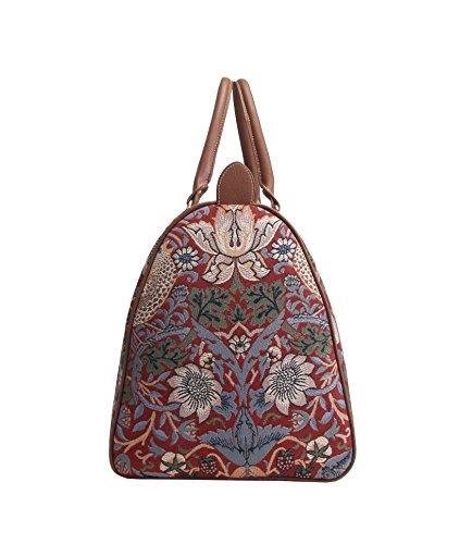 Modische grosse Reisetasche fuer Damen aus Leinengewebe, perfekte Wochendtasche, im Signare Stil Erdbeerdieb Rot