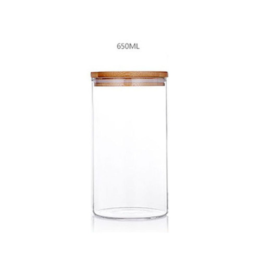 XHHOME Glass Sealed Storage Jar Wide Mouth Tea Coffee Nuts Foods Storage Canisters with Bamboo Lid Kitchen Accessories (650ML)