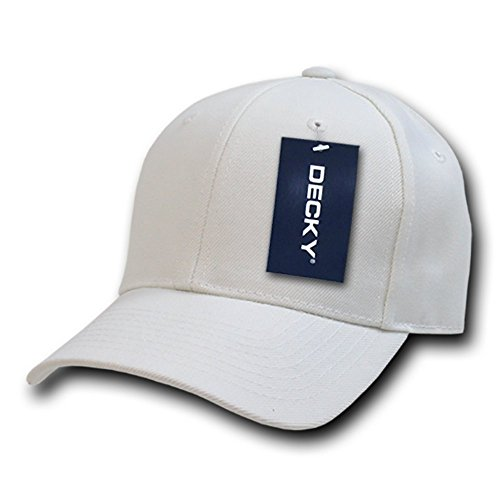 DECKY Fitted Cap, White, 7 3/8 (Hat Fitted Baseball Plain)