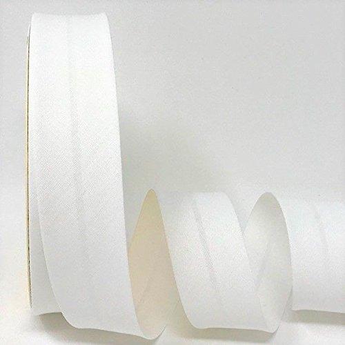 Byetsa Blanc mariage 30mm Polycoton Biais sur un rouleau de 25m
