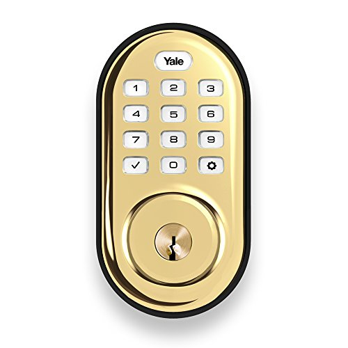 Yale Security Yale Real Living YRD216HA2605 Assure Lock Push Button Deadbolt with ZigBee Bright Brass Finish, Polished