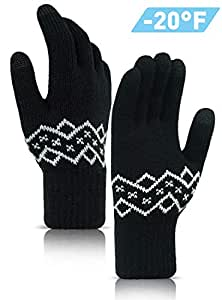 TRENDOUX Driving Gloves, Touchscreen Winter Glove Men Women - Thickened Stretchy Material - Warm Lining - Windproof for Snow Riding Walking Typing - Glove Liners for Cold Weather - Pure Black - M