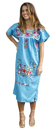 Liliana Cruz Embroidered Mexican Peasant Dress (Turquoise Size Small)
