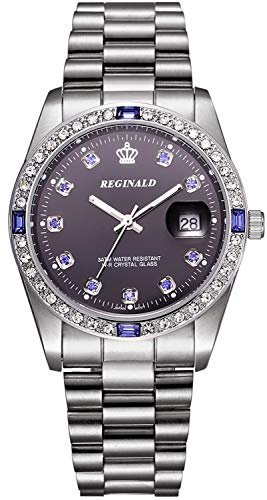 REGINALD Unisex Watch Luminous Hands Sapphire Silver Stainless Steel Quartz Diamonds Dial Watches (Silver)