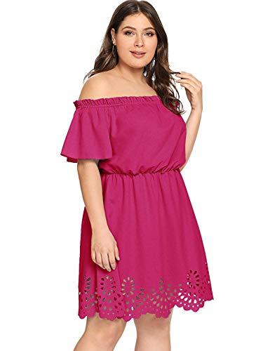 (Romwe Women's Plus Size Off The Shoulder Hollowed Out Scallop Hem Party Short Dresses Hot Pink 3X Plus)