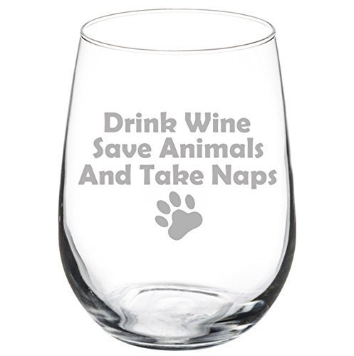 11 oz Stemless Wine Glass Funny Drink Wine Save Animals and Take Naps