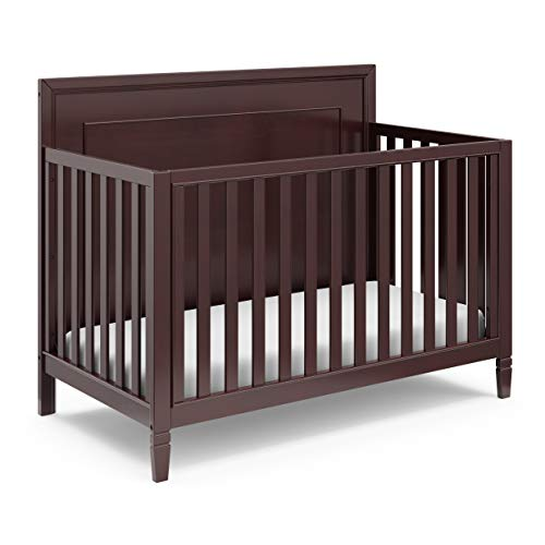 Storkcraft Nightingale 4-in-1 Convertible Crib (Espresso) - Easily Converts to Toddler Bed, Daybed, and Full-Size Bed, 3-Position Adjustable Mattress Support Base, Full Back Panel, Wide Slats