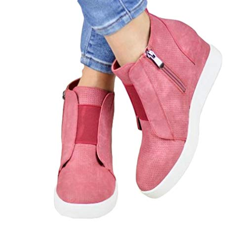 Juleya Ankle Boots for Women Short Boots Zipper Wedge Fashion Hollow Martin Boots Solid Color Retro Elegant Leisure Booties 4 Colors 35-43 Pink