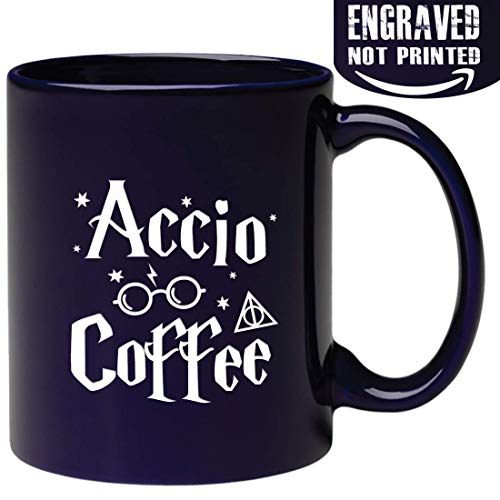 Engraved Ceramic Coffee Mug - Accio Coffee - 11 OZ - Inspirational and sarcasm, Christmas Gifts - Engraved in the USA ()
