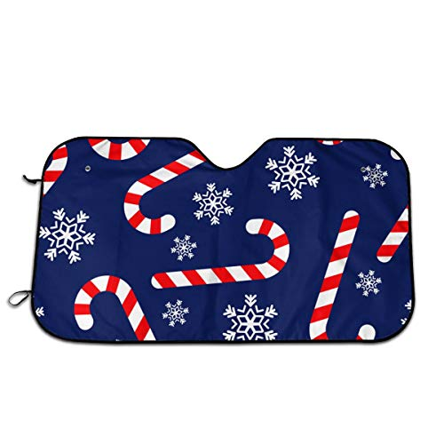 UV Rays Reflective Car Sunshade Visor Front Windshield, Practical Christmas Candy Canes Windshield Sunshade for Most Cars