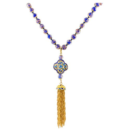 JGMJ Venice Murano Sommerso Aventurina Glass Bead Long Strand Necklace in Blue with Gold Plated Cloisonne Enamel Bead and Tassel, 26+2