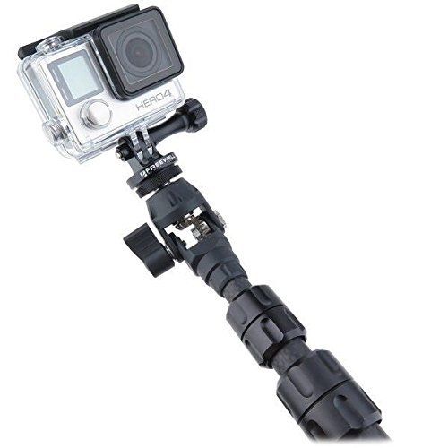 Jmary 360° Carbon Fiber Spin Monopod Selfie Stick for All GoPro Action Cameras + Free Universal Mobile Holder & Shutter Remote Control.