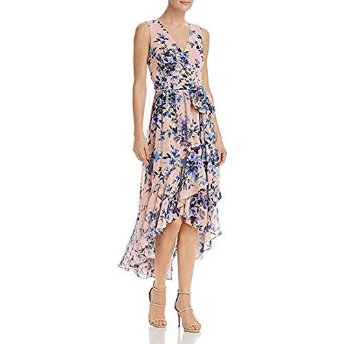 Eliza J Womens Ruffled Floral Maxi Dress, Blush, 4