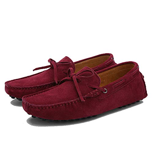 Anewsex Cow Suede Leather Men Flats Men Men Loafers Moccasin Driving Shoes 01 Wine 8 (Greenville And Wine Design)