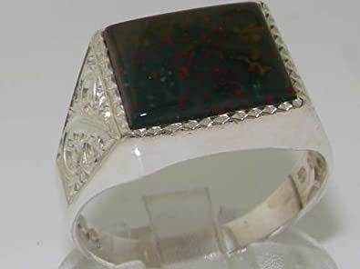 Large Bloodstone Ring Sterling Silver Rare Natural Bloodstone Ring Size 9 AG530 Gift