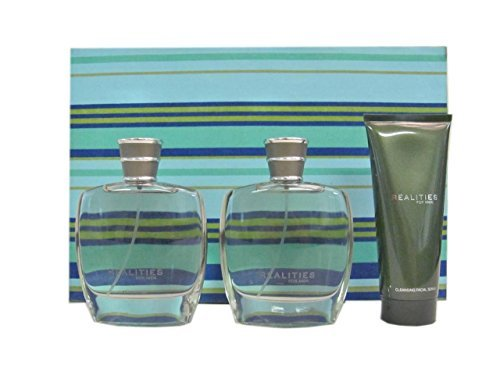 Realities By Liz Claiborne Gift Set: Cologne Spray 3.4 Oz + After Shave Spray 3.4 Oz + Cleansing Facial Scrub 3.4 Oz