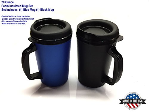 2 ThermoServ Foam Insulated Coffee Mugs 20 oz Blue & Black