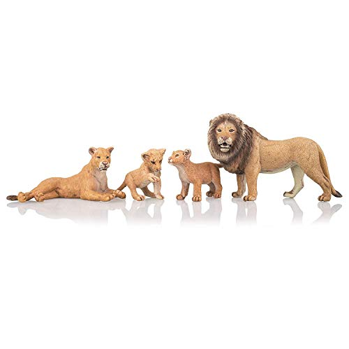 "TOYMANY 4PCS Realistic Lion Figurines with Lion Cubs, 2-5"" Safari Animals Figures Family Set Includes Baby Lions, Educational Toy Cake Toppers Christmas Birthday Gift for Kids Toddlers"