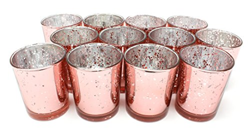 Ms Lovely Rose Gold Glass Votive Tealight Candle Holders - Set of 12-2.5
