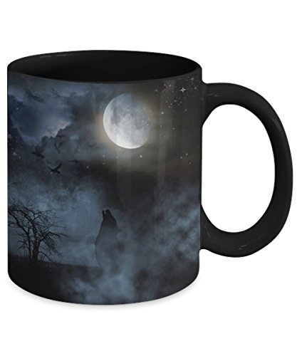 Halloween Coffee Mug - Ghost in Graveyard - Creepy Unique - Black Ceramic Cup - Great Holiday Under $20 Gift 11 or 15 oz Cup