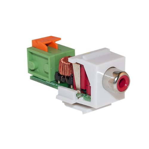 (GadKo Keystone Insert, White, RCA Female to Balun Over Cat5e (Red RCA), Working Distance 350 foot)