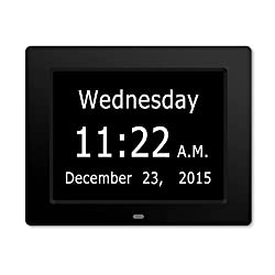Upgraded - ESH Extra-Large Memory Loss Digital Calendar Day Clock with With Full Day & Month Spelling No Abbreviations Great For Impaired Vision (Black)