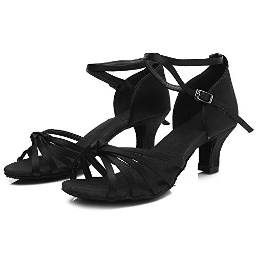 Roummall Frauen Satin Latin Tanzschuhe Modell 217 5 cm Schwarz
