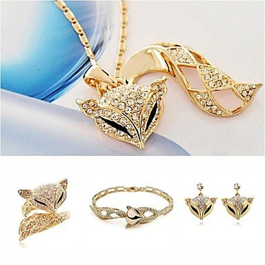 SuSy High-Grade Luxury European Style Enchanting the Fox Pendant Necklace Earrings Hand Catenary Rings Jewelry Set, custom jewelry, wedding jewelry, bridal jewelry sets
