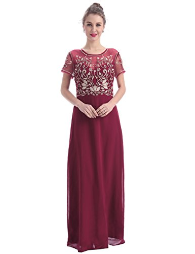 MANER Women's Fashion Chiffon Tulle Beaded Embroidered Long Evening Gowns Prom Party Dress (L, Burgundy/Apricot) by MANER