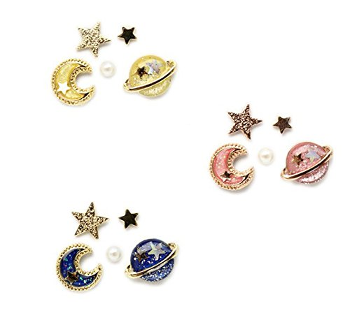Star and moon earring set