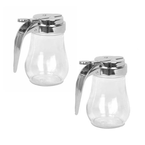 Syrup Honey Dispenser - 6 Oz. (Ounce) Glass Bulb Jar Syrup Dispenser, Sugar Dispenser, Retracting Spout, Dispensing Thumb-Lever, Pancake House Style (2)