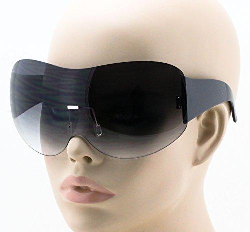 15a20fd51f Big Huge Oversize Glasses Rimless Shield Visor Aviator Sunglasses Mirror  Oceanic Tinted Lens