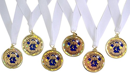 Pack of 6 I Graduated From Kindergarten Graduation Award Medals on White Ribbons, 2 1/2 -
