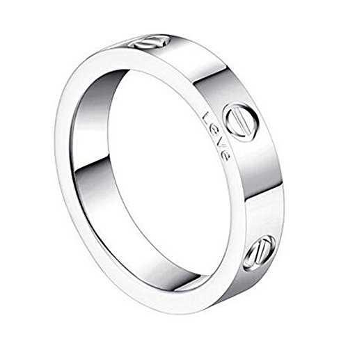 K.Klemm Women's 4mm Fashion Classics Titanium Steel Silver Ring - Eternal Lovers Ring (Silver, 9)