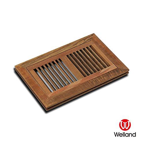 WELLAND 6 Inch x 12 Inch Brazilian Walnut Flush Mount Wood Vent Floor Register - Unfinished Brazilian Walnut