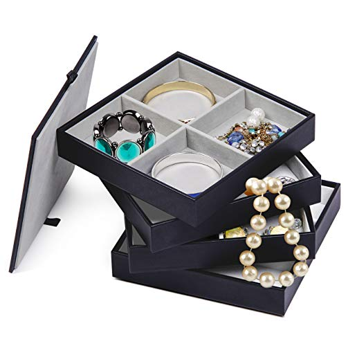 Jewelry Trays Stackable With Lid, Black Leather Storage ...