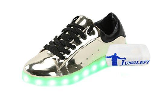 [+Kleines Handtuch]Bunte LED-Lichter leuchten und silberne Schuhe neuen Freizeitschuhe USB-Lade leuchtende männliche und weibliche Paar Sch c1