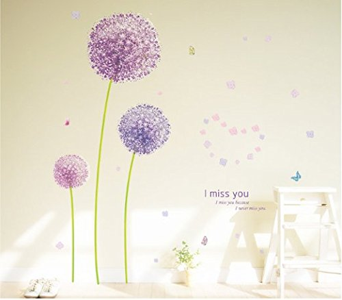 Cheap  SWORNA Nature Series 3D Beautiful Purple Dandelion Flowers Removable Vinyl Wall Decor..