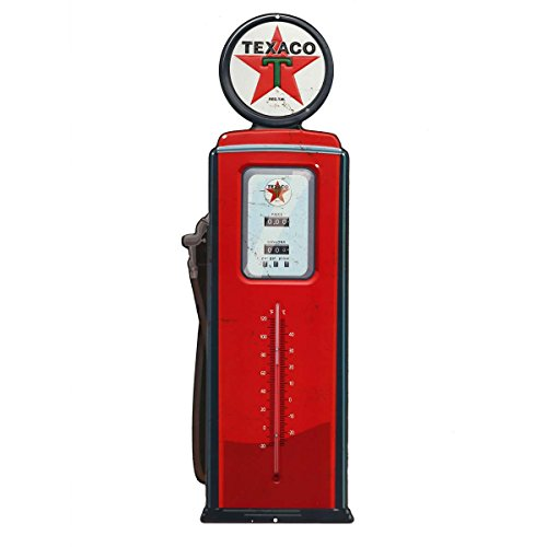 (Open Road Brands Texaco Gas Pump Embossed Tin Thermometer Sign Vintage Style )