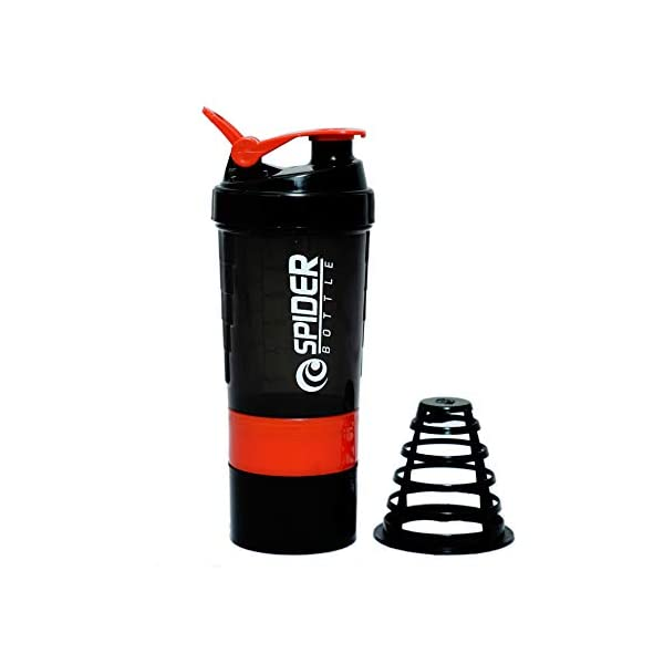 Everytimestock Unisex Spider Gym Sipper Protein Shaker Plastic Water Bottle 528 ml Sipper (Red and Black) 2021 August Package Contents: 1-Piece Bottle (500ml) Color : Green, Red,Sky Blue,Coffee Color White,Black (Color will be sent as per availability) Great space saving design sports bottle for every use