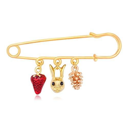 No Fruit Cones (TUSHUO Simple Acorn Pine Cone Red Strawberry Green Eye Rabbit Pendant Brooches Safety Pin (Gold))