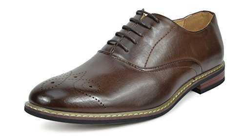- Bruno Marc PRINCE-12 Men's Oxford Modern Classic Brogue Lace Up Leather Lined Perforated Dress Oxfords Shoes Dark-Brown Size 9.5