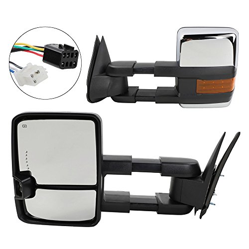 Suburban Chrome Manual Mirror - Towing Mirrors with LED Signal Clearance Light Side Mirrors for 1999-2002 Chevrolet /GMC Silverado/Sierra Power Heated Manual Telescoping Tow Mirrors
