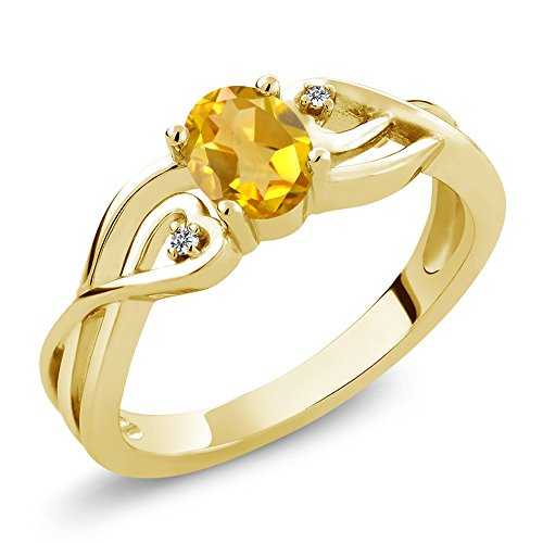 Gem Stone King 0.41 Ct Oval Yellow Citrine White Diamond 18K Yellow Gold Plated Silver Ring (Size 8) ()
