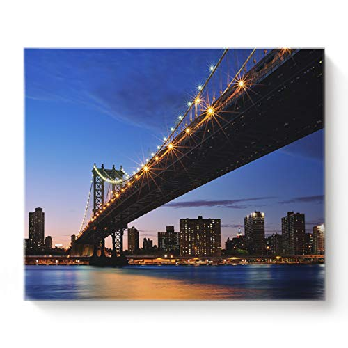 (Canvas Prints Wall Art Night View of Brooklyn Bridge and Riverside City Oil Paintings Decor for Living Room Bedroom Home Decorations Modern Stretched and Framed Giclee Artwork)