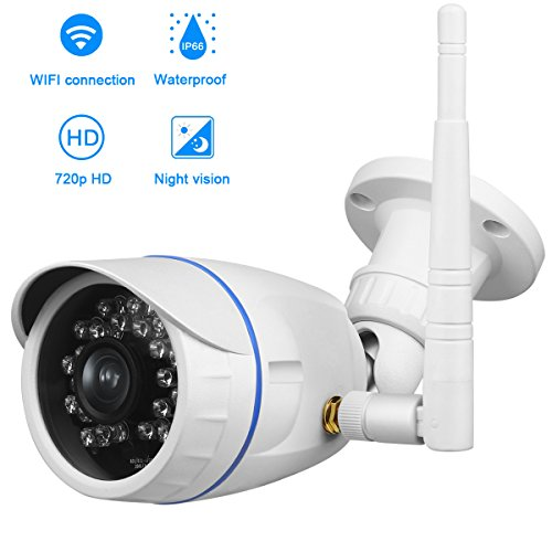 Outdoor Bullet Cameras, Aiguozer Waterproof IP Camera Wireless Wifi Surveillance Security Cameras System with Night Vision Motion Detection Video Recording