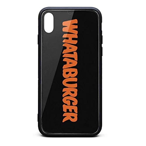 YJRTISF iPhone Xs Case Shockproof Case Glass Rear Cover 9H Tempered Glass Back Cover Whataburger-Logo- Scratch Resistant Soft TPU Material Bumper for iPhoneXs
