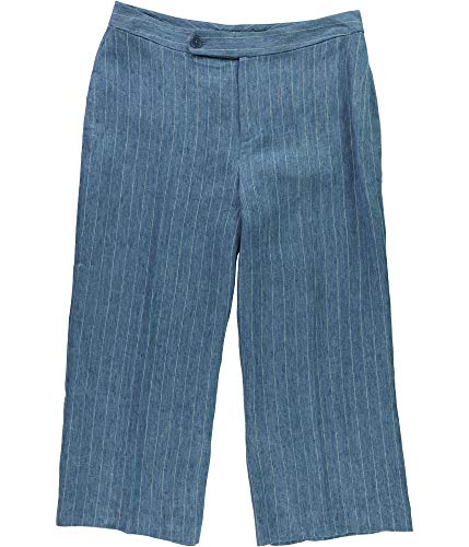 (Ralph Lauren Womens Striped Casual Wide Leg Pants, Blue, 14)
