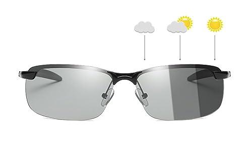 eda1668f13 GAMT Polarized Photochromic Lens Sunglasses Day and Night Driving Semi  Frame Photosensitive Sunglasses for Men (