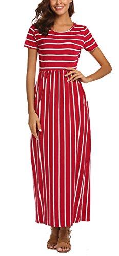 - SimpleFun Women's Striped Short Sleeve Long Dress Summer High Waist Pockets Maxi Dress(Wine Red Stripe,S)
